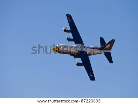 EL PASO – OCTOBER 22: Fat Albert puts on an aerial display at Fort Bliss, Biggs Airfield, during the 30th Anniversary Amigo Airsho on October 22, 2011 at El Paso, Texas.