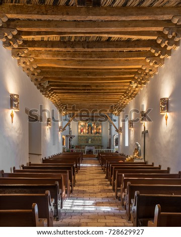 EL PASO, TEXAS - AUGUST 11: Interior of the Socorro Mission on Nevarez Road on August 11, 2017 in El Paso, Texas