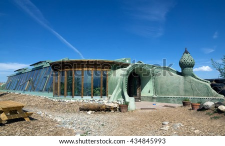 El PRADO, NM, USA-  MAY 30, 2016: Vizitor center of the future homes -  Most Versatile and Economical building design in the world. Earthship Biotecture