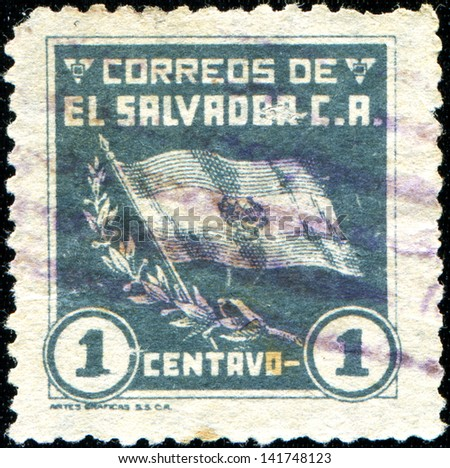 EL SALVADOR - CIRCA 1935: A stamp printed in el Salvador shows national flag, circa 1935
