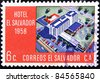 EL SALVADOR - CIRCA 1958: A stamp printed in Salvador shows Hotel El Salvador, circa 1958 - stock photo