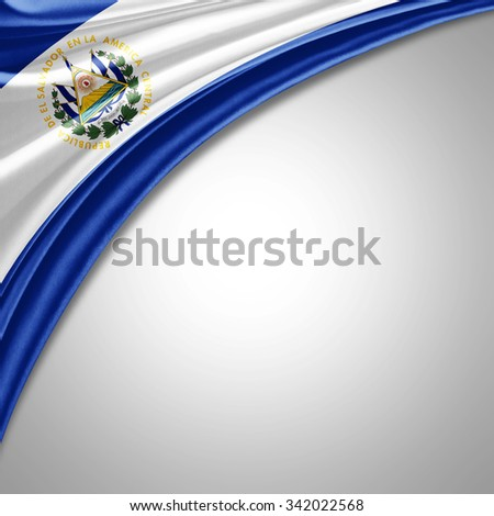 El Salvador flag  of  silk with copyspace for your text or images  - stock photo