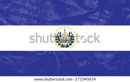 El Salvador flag on leather texture - world flag leather textured - stock photo