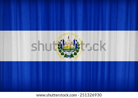 El Salvador flag pattern on the fabric curtain,vintage style - stock photo