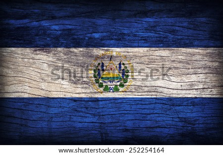 El Salvador flag pattern on wooden board texture ,retro vintage style - stock photo