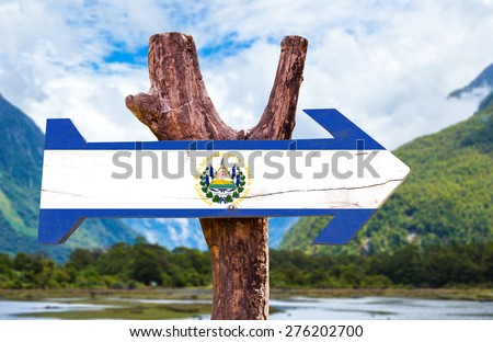 El Salvador Flag wooden sign with mountains background - stock photo
