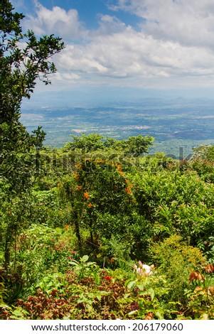 El Salvador. View from the restaurant garden. - stock photo