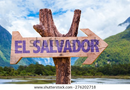 El Salvador wooden sign with mountains background - stock photo