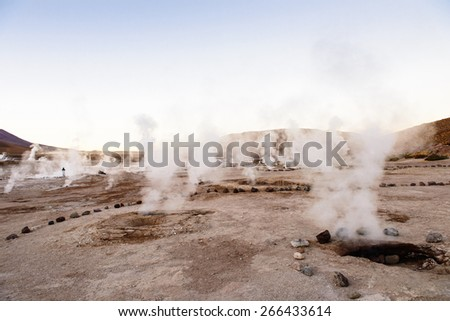 El Tatio geysers , near San Pedro de Atacama, Chile. - stock photo