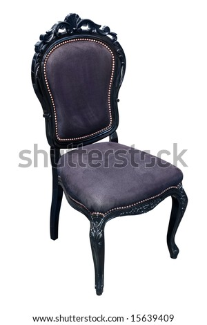 Elaborate black antique chair with leather upholstery - stock photo