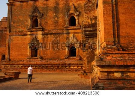 Elaborate sandstone carvings outside the Dhammayangyi Temple, Bagan Myanmar (Burma) - stock photo