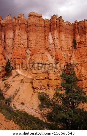 Elaborately eroded pinnacles and hoodoos in muted colors,  in the canyon of Bryce Canyon National Park, Utah