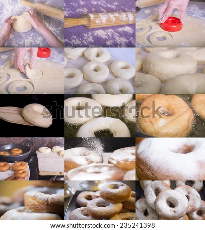 elaboration process of Donuts - stock photo