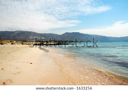 Elafonisi beach with red sand in Greece - stock photo