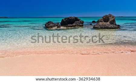 Elafonisi (Island of Deer) is like paradise on earth, and possessess a wonderful beach with pink coral sand and crystalline waters, island of Crete, Greece - stock photo