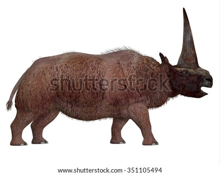 Elasmotherium Side Profile - Elasmotherium is an extinct mammal that lived in the Pleistocene Period of Russia, Ukraine, and Moldova. - stock photo