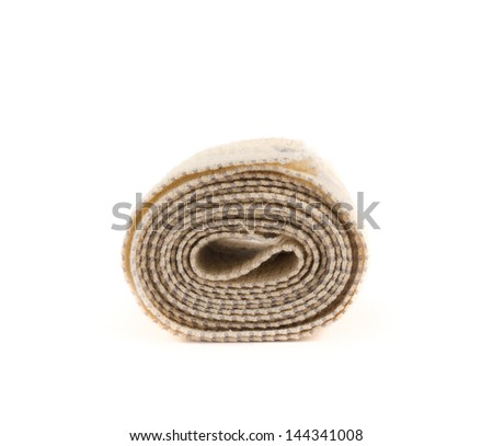 Elastic ACE compression bandage warp isolated over white background, side view - stock photo