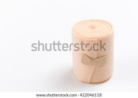 Elastic bandage isolated on white background - stock photo