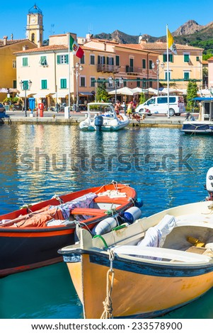 Elba Island, Italy - 28 Sept. 2014:View of Porto Azzurro Village of Elba Island.Is one of the most famous picturesque tourist and commercial port, Elba island,Italy on Sep. 2014. - stock photo