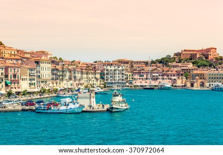 Elba island panoramic view of Portoferraio coast, Tuscany, Italy  - stock photo
