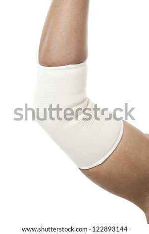 Elbow Bandage Support in a fracture arm - stock photo