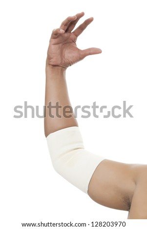 Elbow Bandage Support in a male arm - stock photo