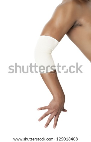 Elbow brace on a fracture arm isolated on white - stock photo