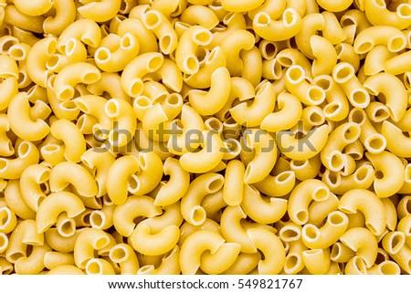 Elbow Macaroni Background Top View Yellow Pasta