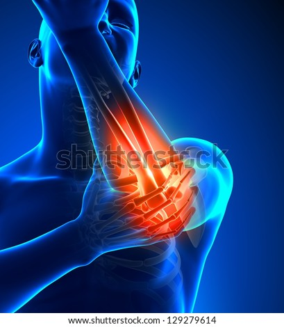 Elbow Pain Male - Front view - stock photo