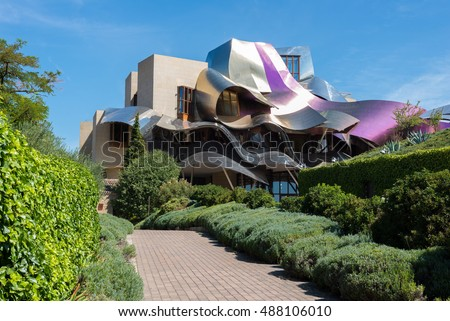 ELCIEGO, SPAIN - SEP 10: The modern hotel of Marques de Riscal on September 10, 2016 in Elciego, Basque Country, Spain. This hotel, designed by Frank Gehry, was built in 2007.