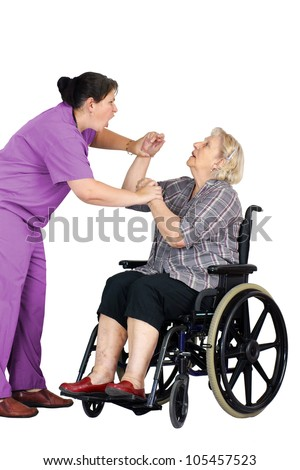 Elder abuse concept: enraged nurse or other health care provider assaulting a senior woman patient in a wheelchair, studio shot on white.