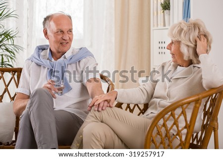 Elder couple likes to spend time together