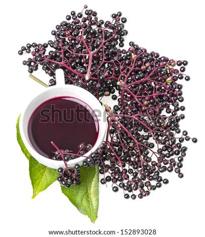 elder herbal syrup - stock photo