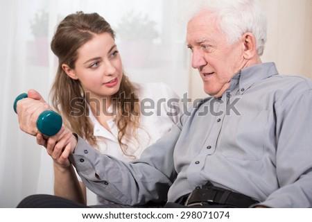 Elder man returning to good state of health - stock photo