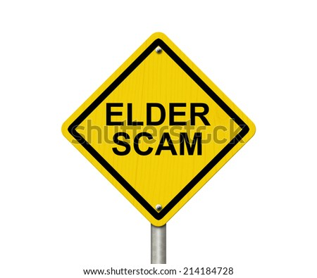 Elder Scam Warning Sign, Yellow warning sign with words Elder Scam isolated on white - stock photo