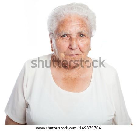 elder women front on a white background - stock photo