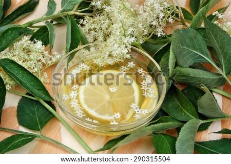 Elderberry lemonade with fresh lemon and elderberry blossom - stock photo
