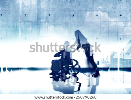 Eldercare City Life Disabled Support Help Healthcare Concept - stock photo