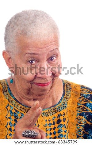 Elderly African American woman lecturing pointing fingers at the camera - stock photo