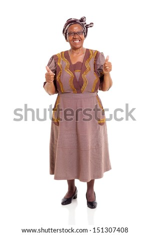 elderly african woman giving thumbs up on white background - stock photo