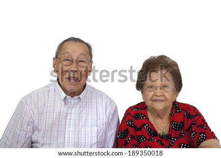 Elderly Asian Couple Portrait Isolated on White Background