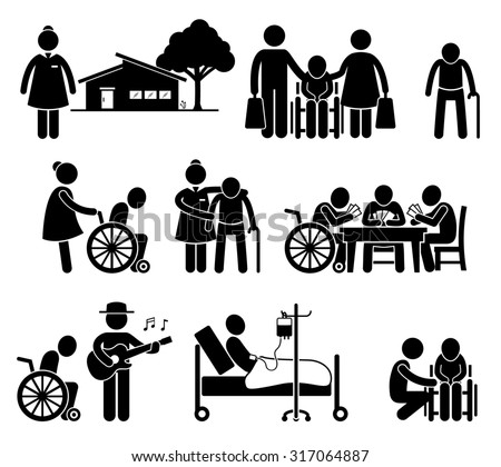 Elderly Care Nursing Old Folks Home Retirement Centre Pictogram