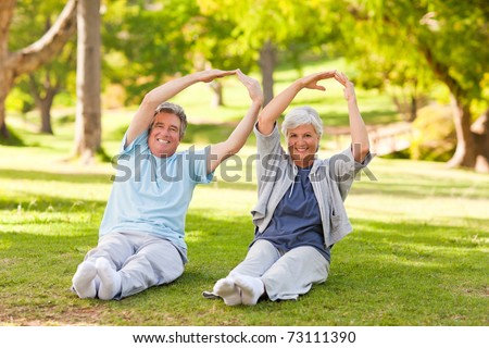 Elderly couple doing their stretches in the park - stock photo