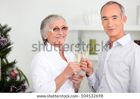 Elderly couple drinking champagne in front of Christmas tree