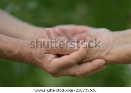 Elderly couple holding hands in autumn park - stock photo
