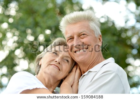 elderly couple in love together