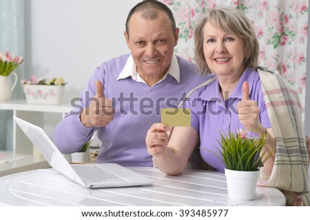 elderly couple making purchases over the Internet by credit card