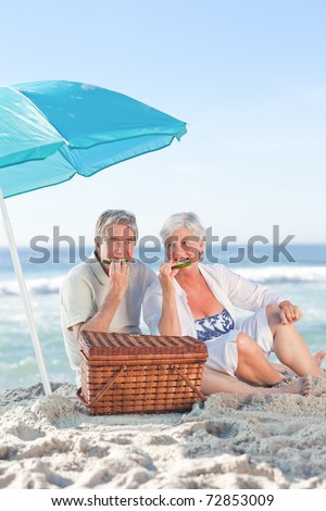Elderly couple picnicking on the beach