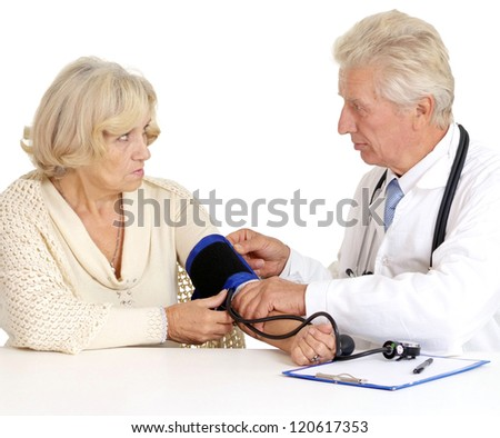 elderly doctor and patient on a white background