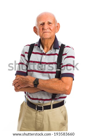 Elderly eighty plus year old man in a studio portrait on a white background. - stock photo